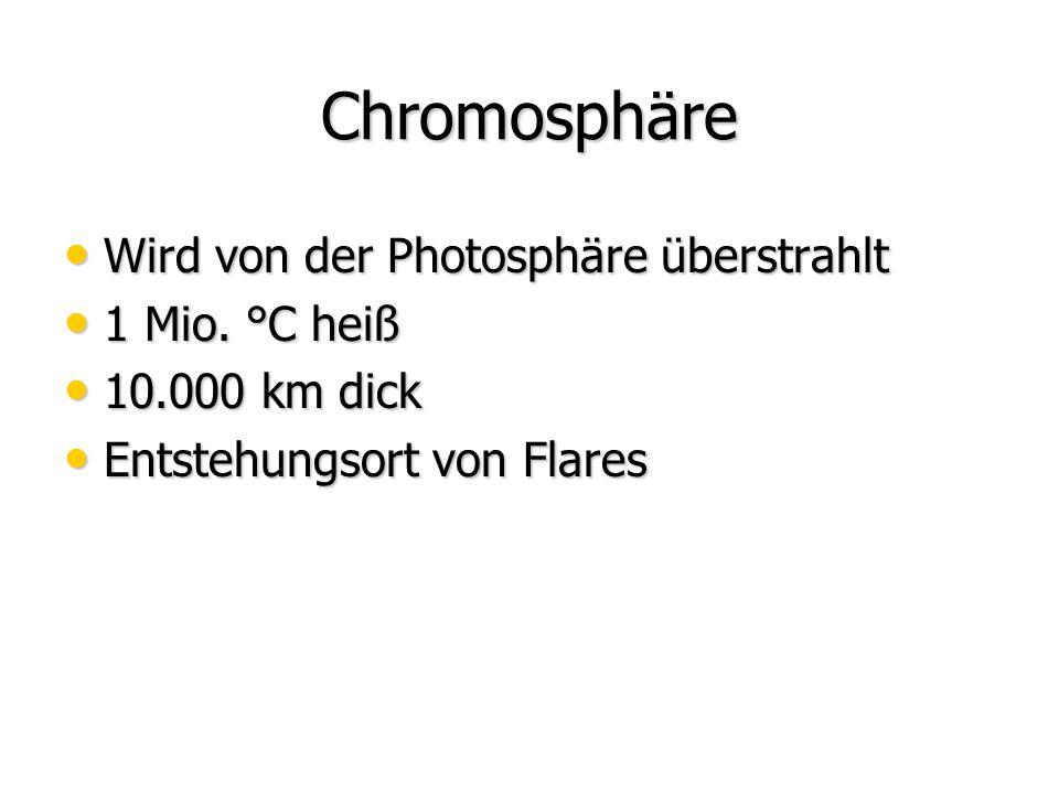 Chromosphäre Wird von der Photosphäre überstrahlt 1 Mio. °C heiß