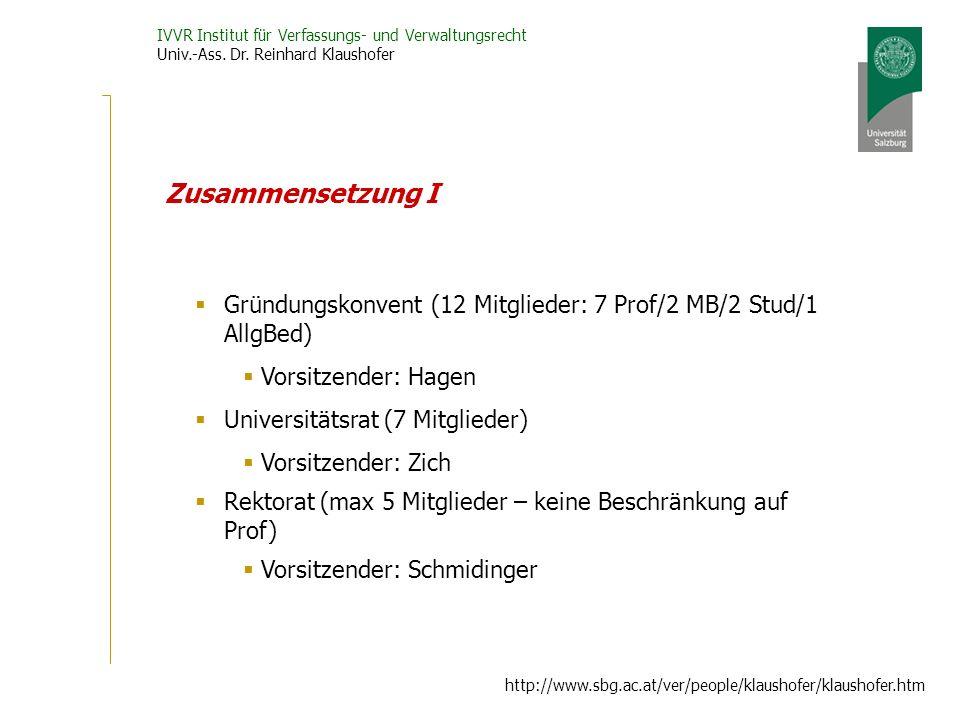 Zusammensetzung I Gründungskonvent (12 Mitglieder: 7 Prof/2 MB/2 Stud/1 AllgBed) Vorsitzender: Hagen.