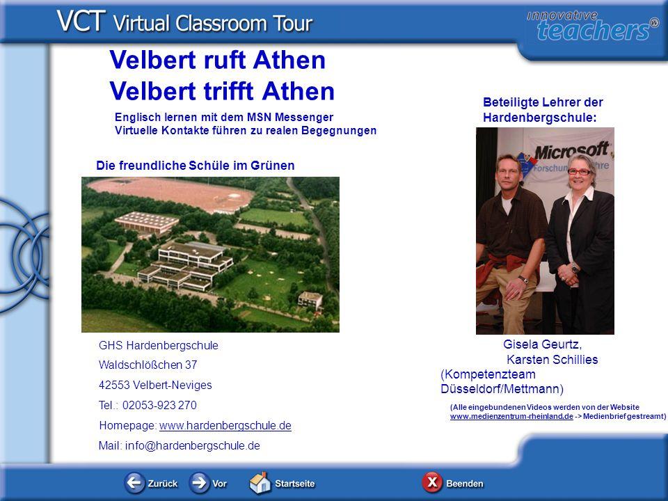 Velbert ruft Athen Velbert trifft Athen Beteiligte Lehrer der