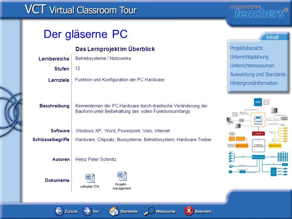 Der gläserne PC Das Lernprojekt im Überblick Lernbereiche Stufen