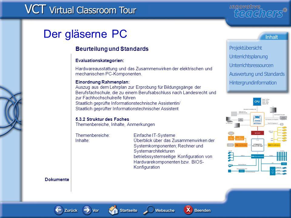 Der gläserne PC Beurteilung und Standards Evaluationskategorien: