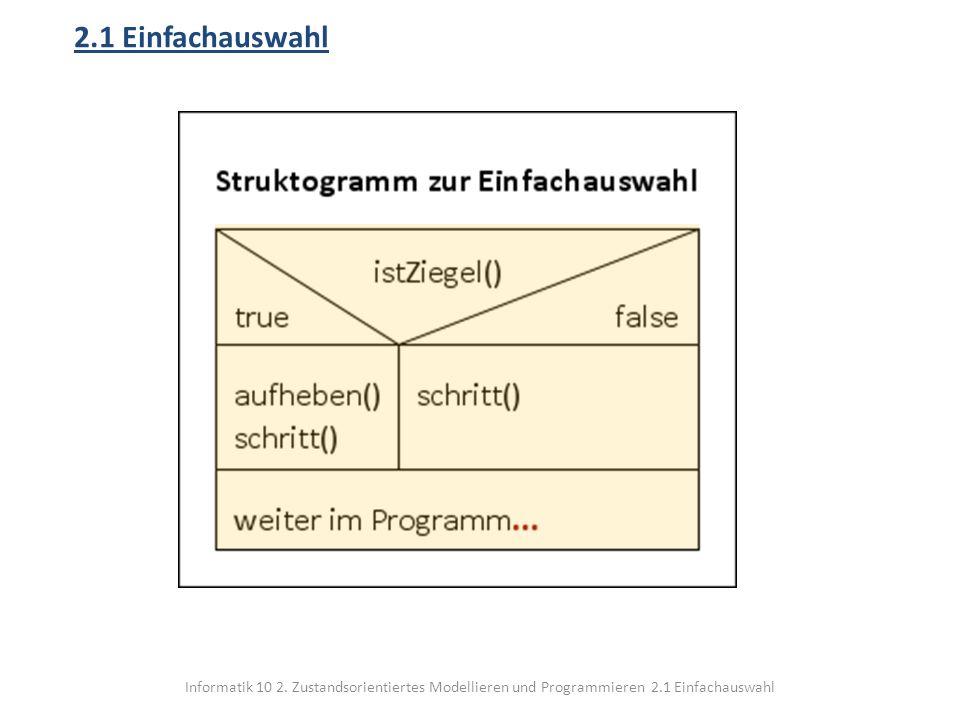2.1 Einfachauswahl Informatik 10 2.