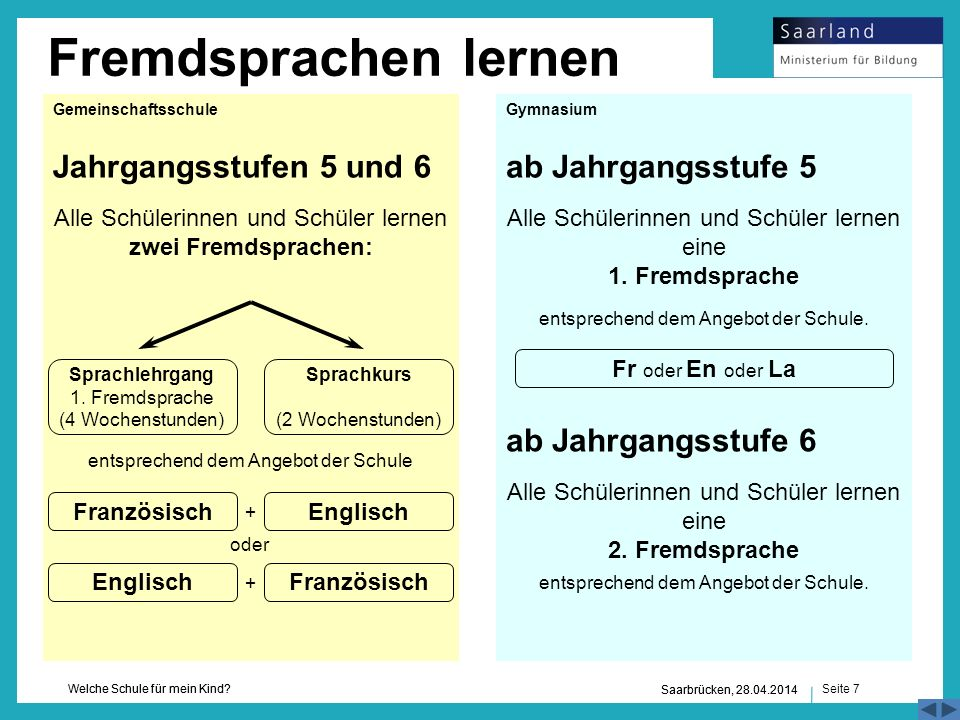 Fremdsprachen lernen Jahrgangsstufen 5 und 6 ab Jahrgangsstufe 5