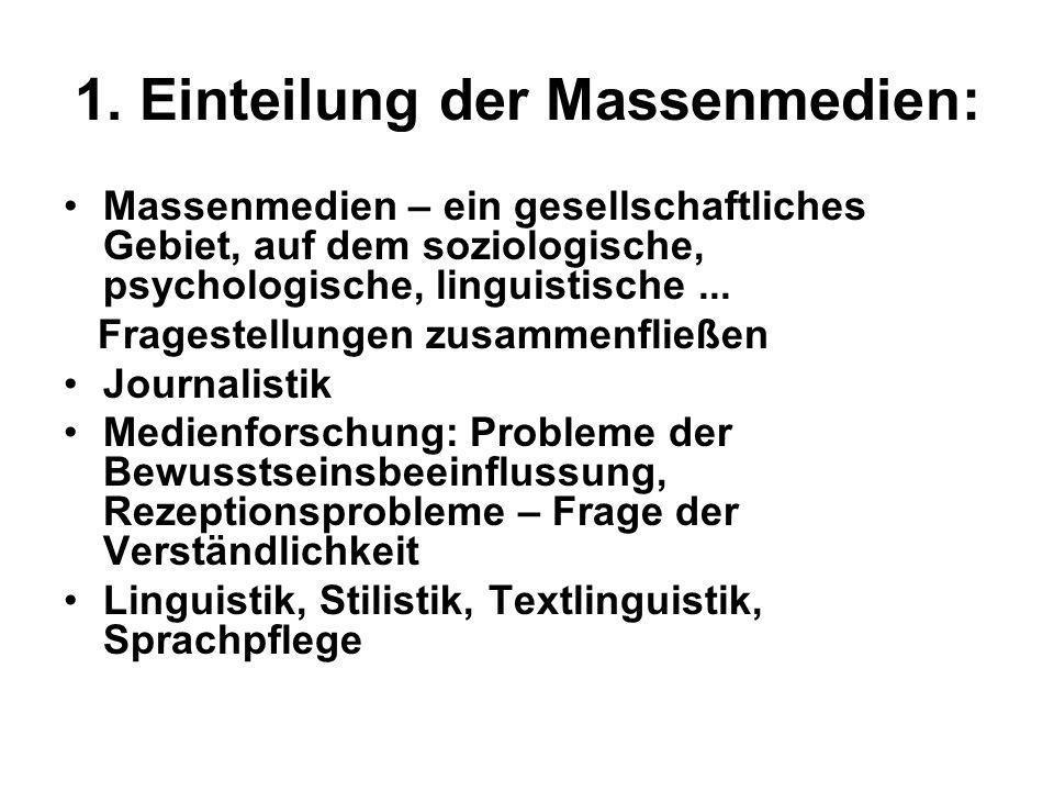 1. Einteilung der Massenmedien: