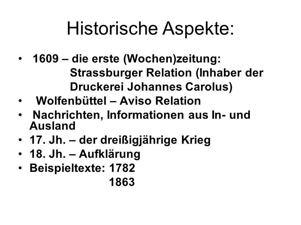 Historische Aspekte: 1609 – die erste (Wochen)zeitung: