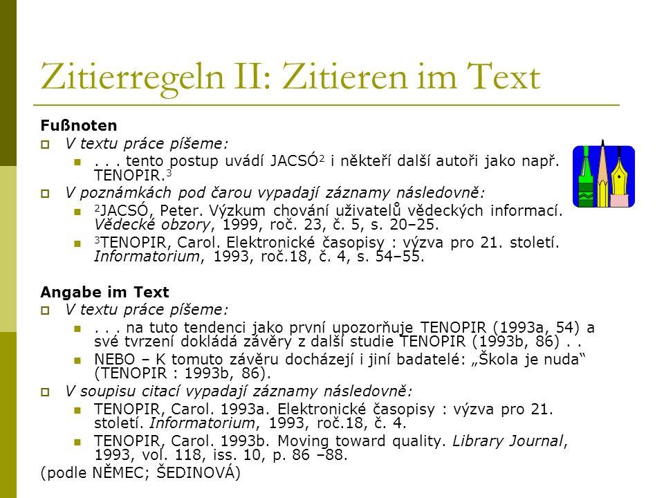 Zitierregeln II: Zitieren im Text