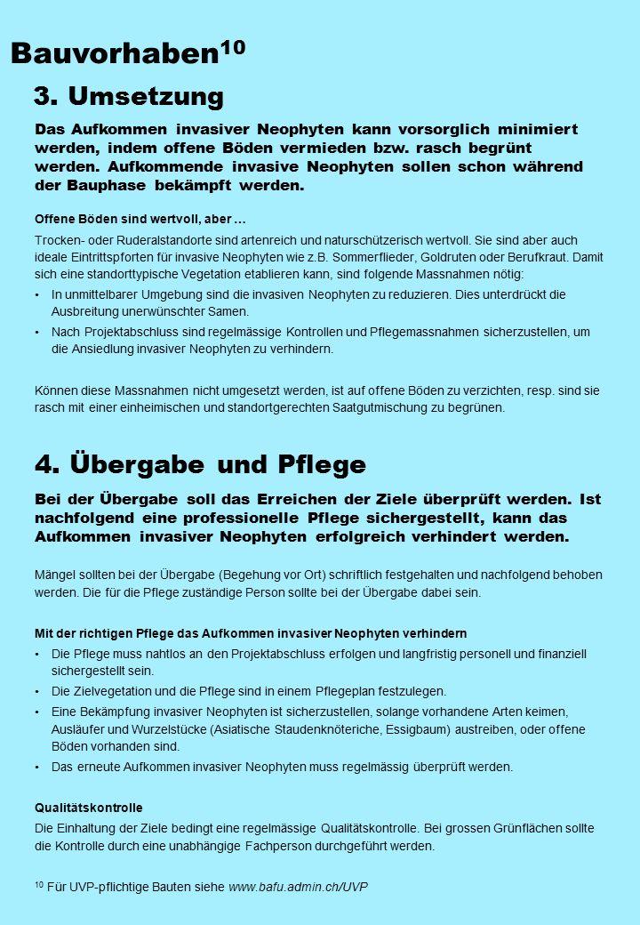 Bauvorhaben10 3. Umsetzung 4. Übergabe und Pflege