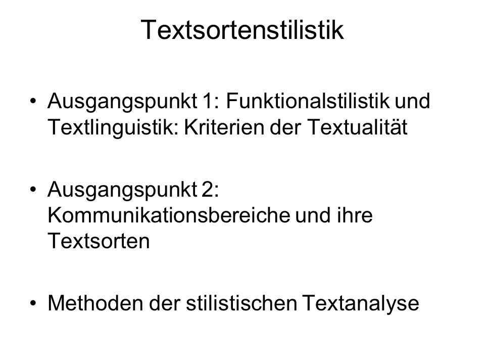 Textsortenstilistik Ausgangspunkt 1: Funktionalstilistik und Textlinguistik: Kriterien der Textualität.