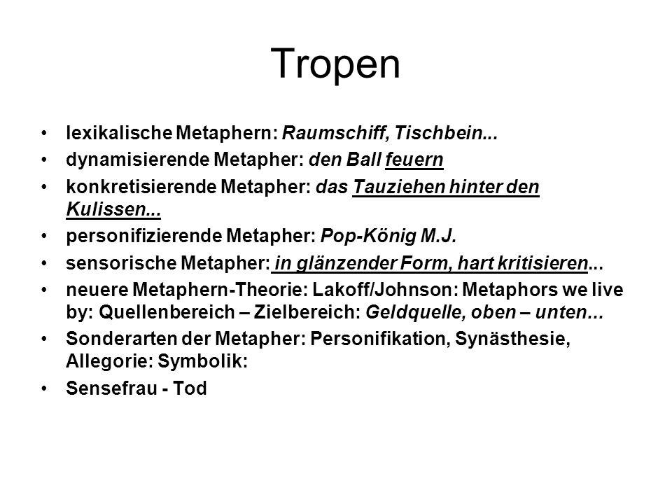 Tropen lexikalische Metaphern: Raumschiff, Tischbein...