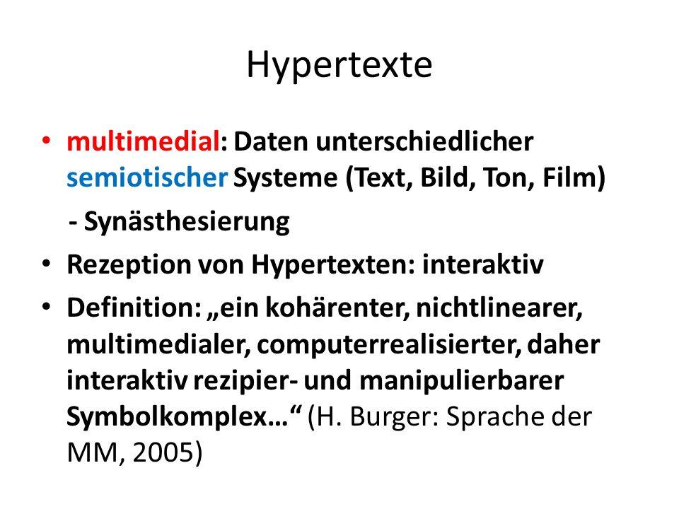 Hypertexte multimedial: Daten unterschiedlicher semiotischer Systeme (Text, Bild, Ton, Film) - Synästhesierung.
