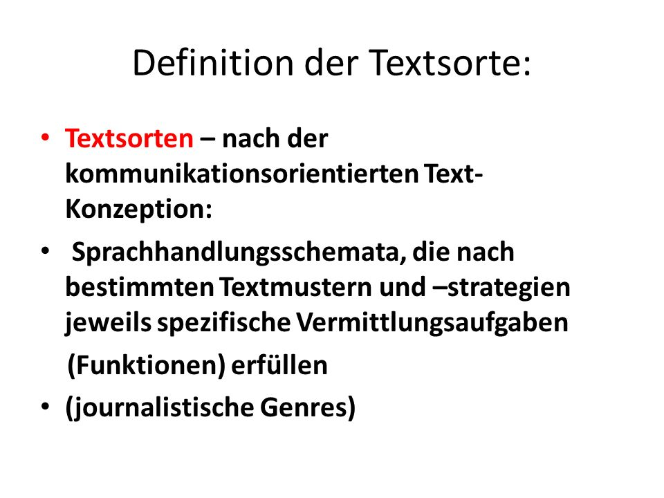 Definition der Textsorte: