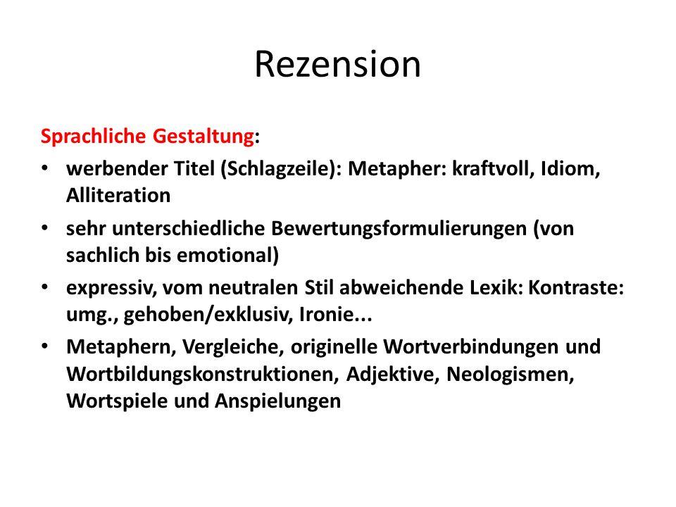 Rezension Sprachliche Gestaltung: