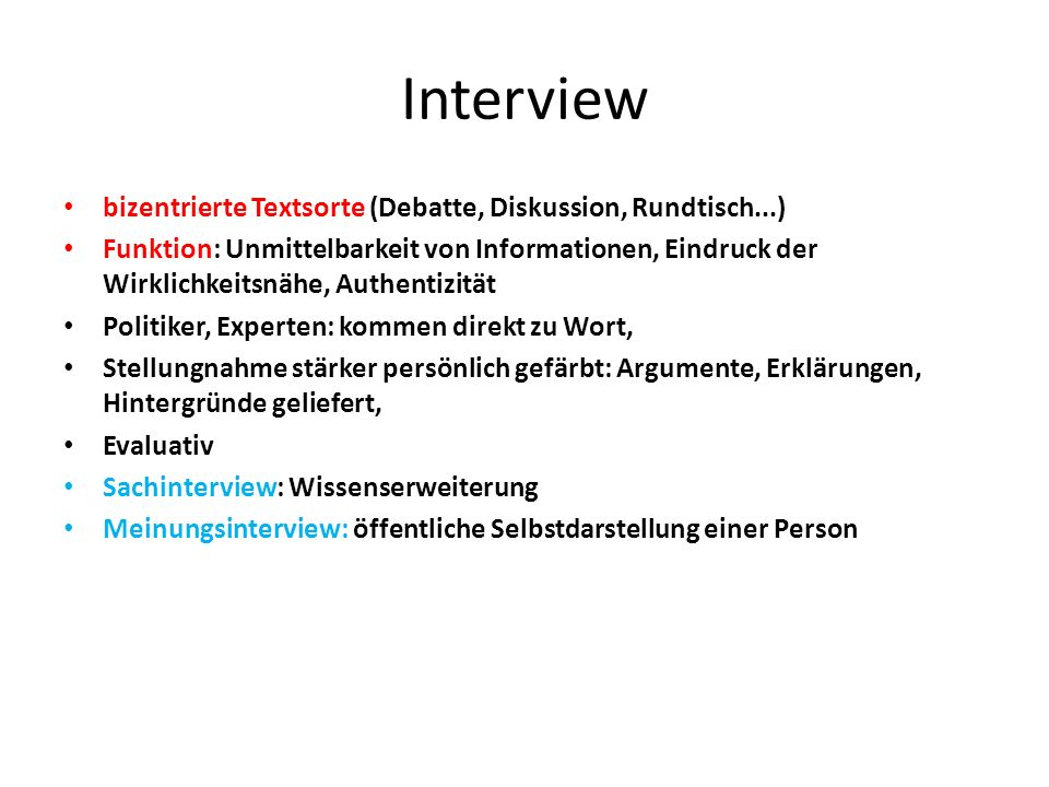 Interview bizentrierte Textsorte (Debatte, Diskussion, Rundtisch...)