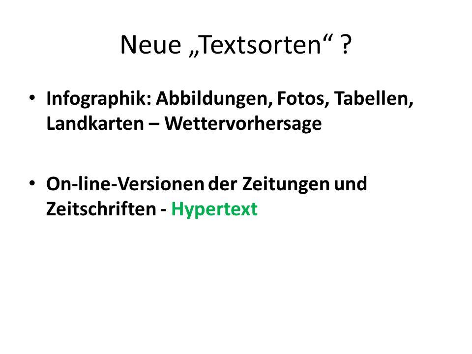 """Neue """"Textsorten Infographik: Abbildungen, Fotos, Tabellen, Landkarten – Wettervorhersage."""