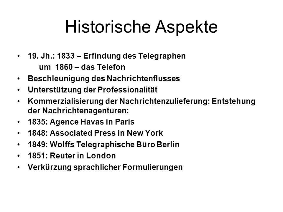 Historische Aspekte 19. Jh.: 1833 – Erfindung des Telegraphen