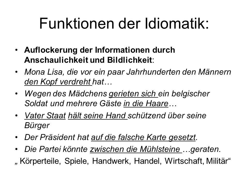 Funktionen der Idiomatik: