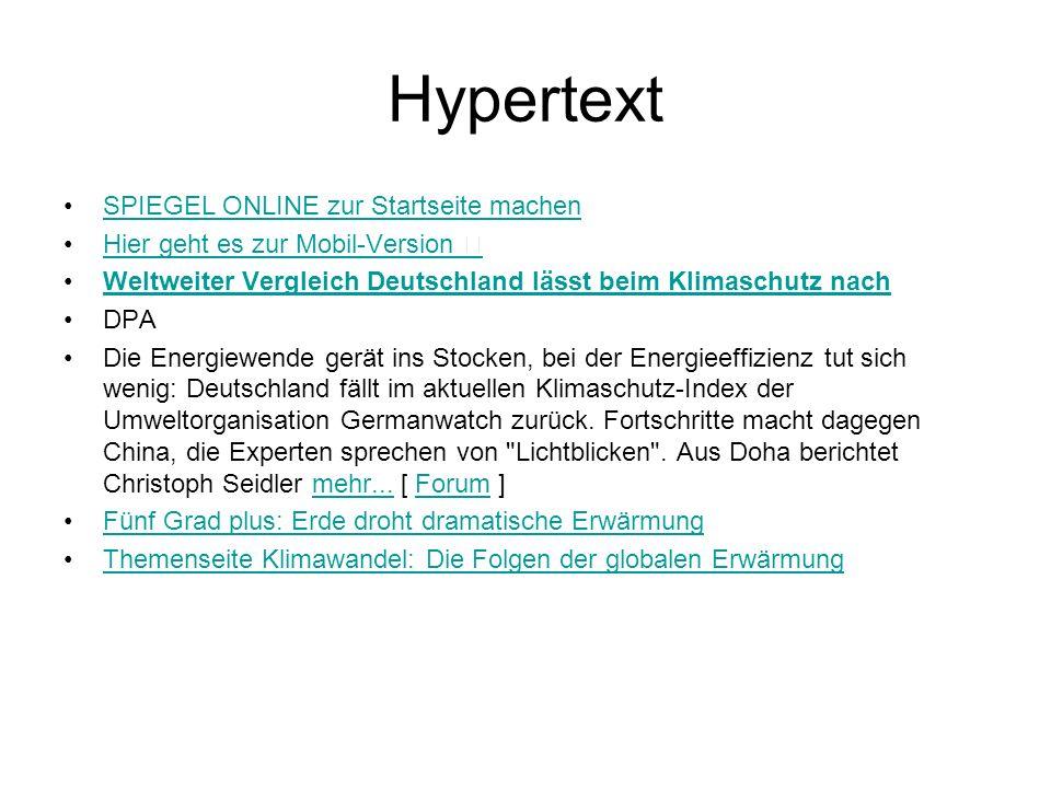 Hypertext SPIEGEL ONLINE zur Startseite machen