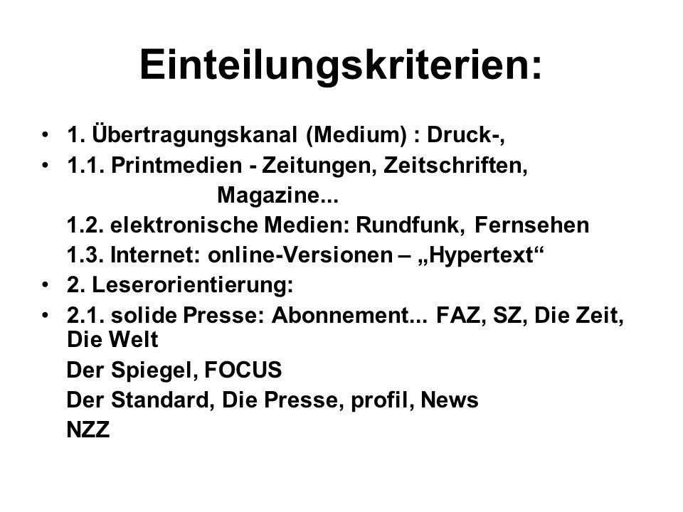 Einteilungskriterien: