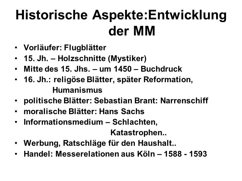 Historische Aspekte:Entwicklung der MM