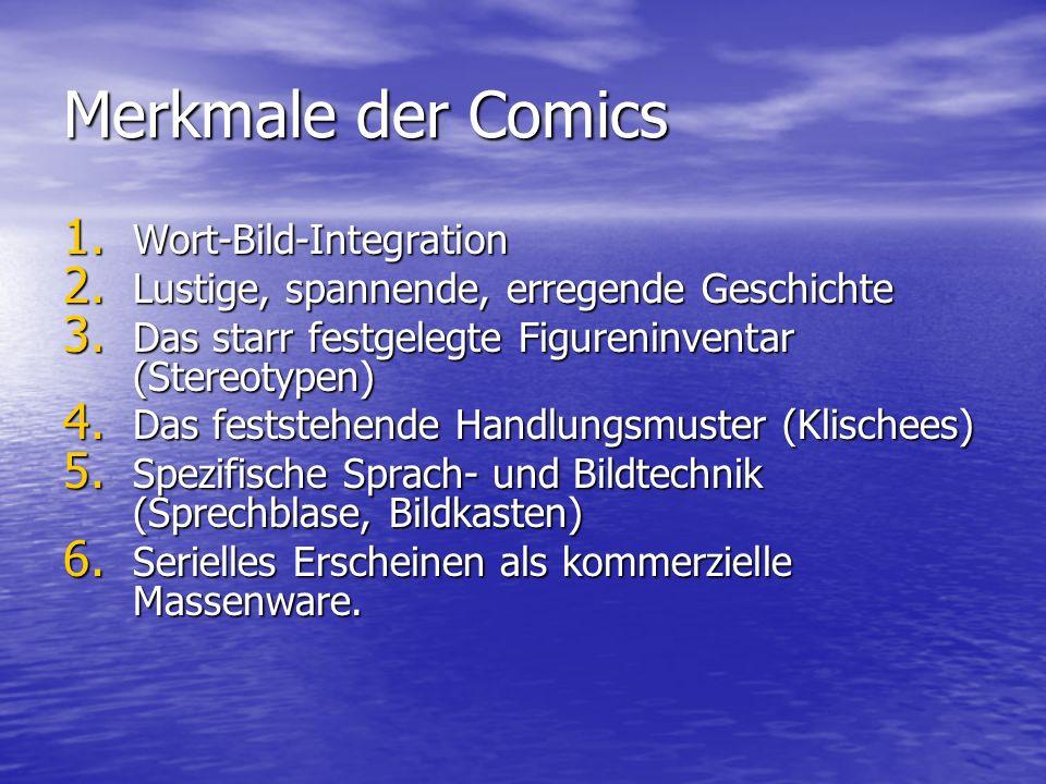 Merkmale der Comics Wort-Bild-Integration