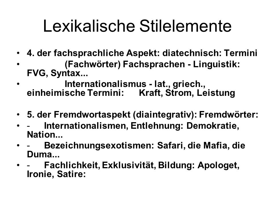 Lexikalische Stilelemente
