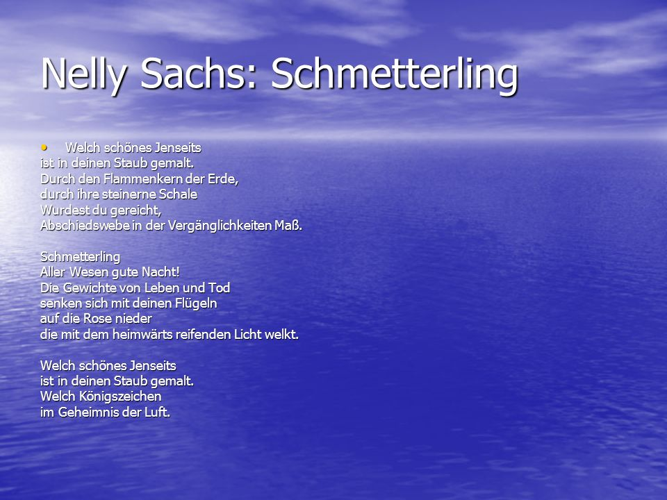 Nelly Sachs: Schmetterling