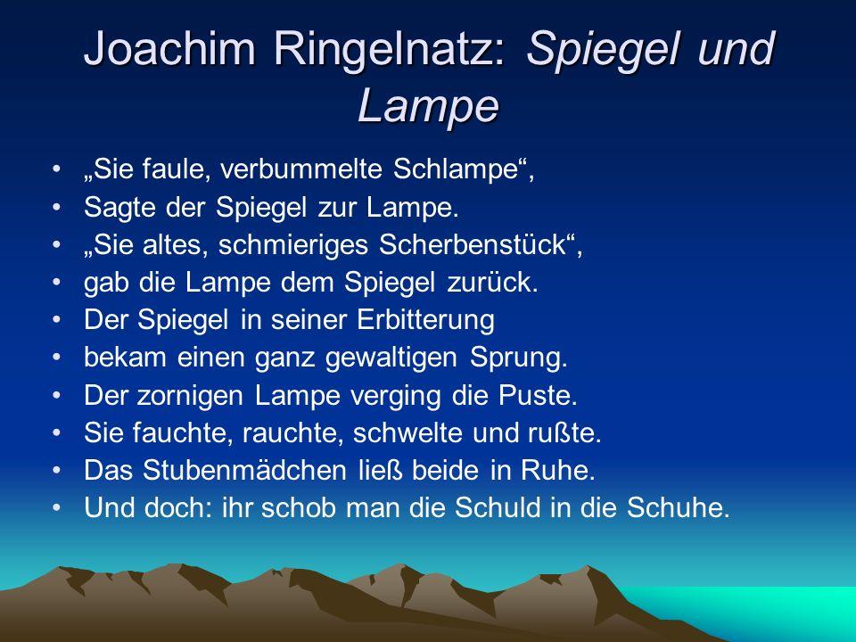 Joachim Ringelnatz: Spiegel und Lampe