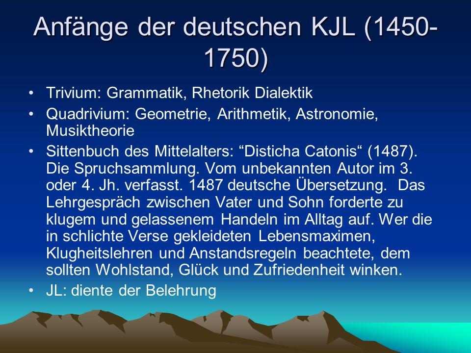 Anfänge der deutschen KJL (1450-1750)