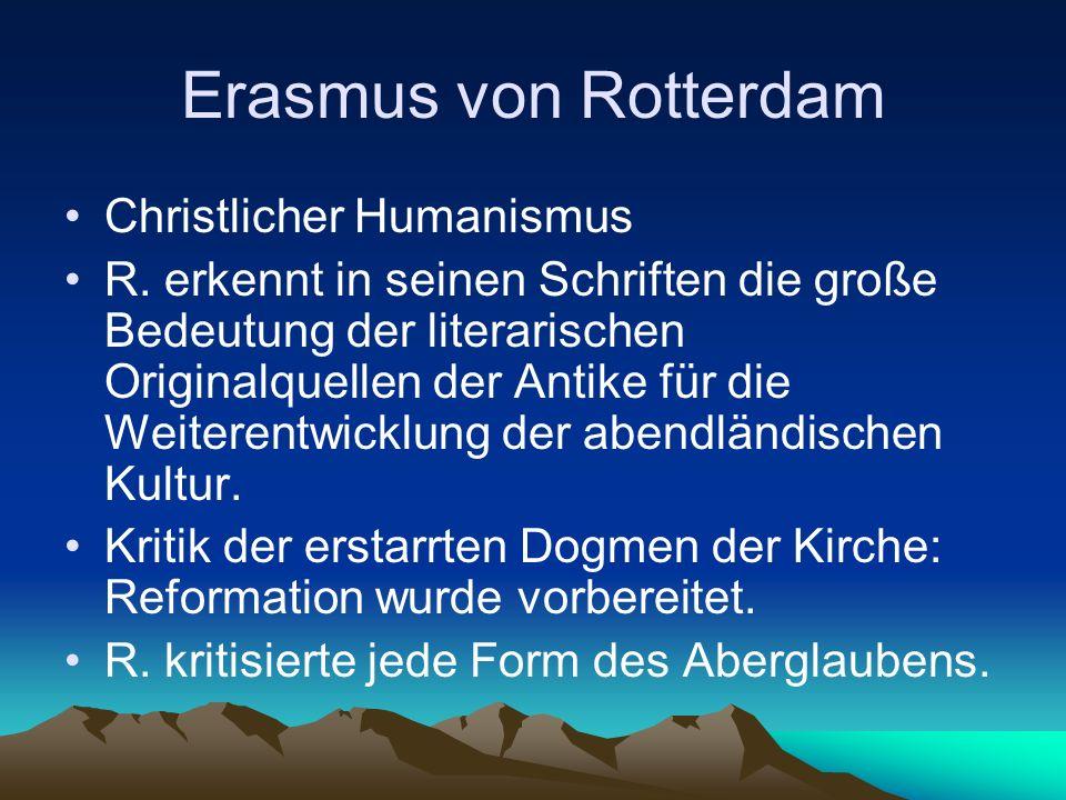 Erasmus von Rotterdam Christlicher Humanismus