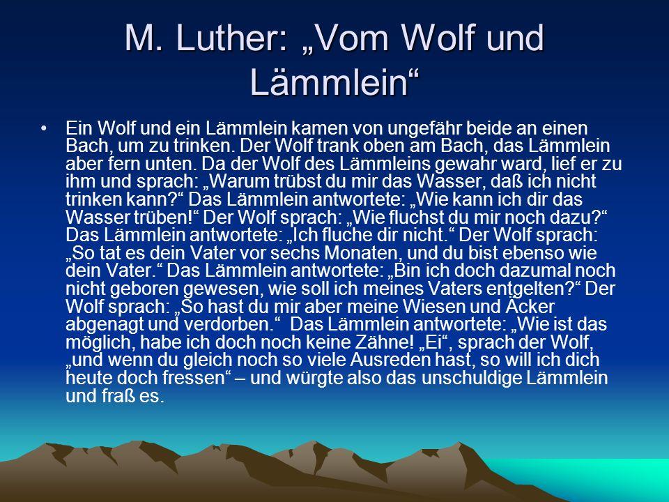 """M. Luther: """"Vom Wolf und Lämmlein"""