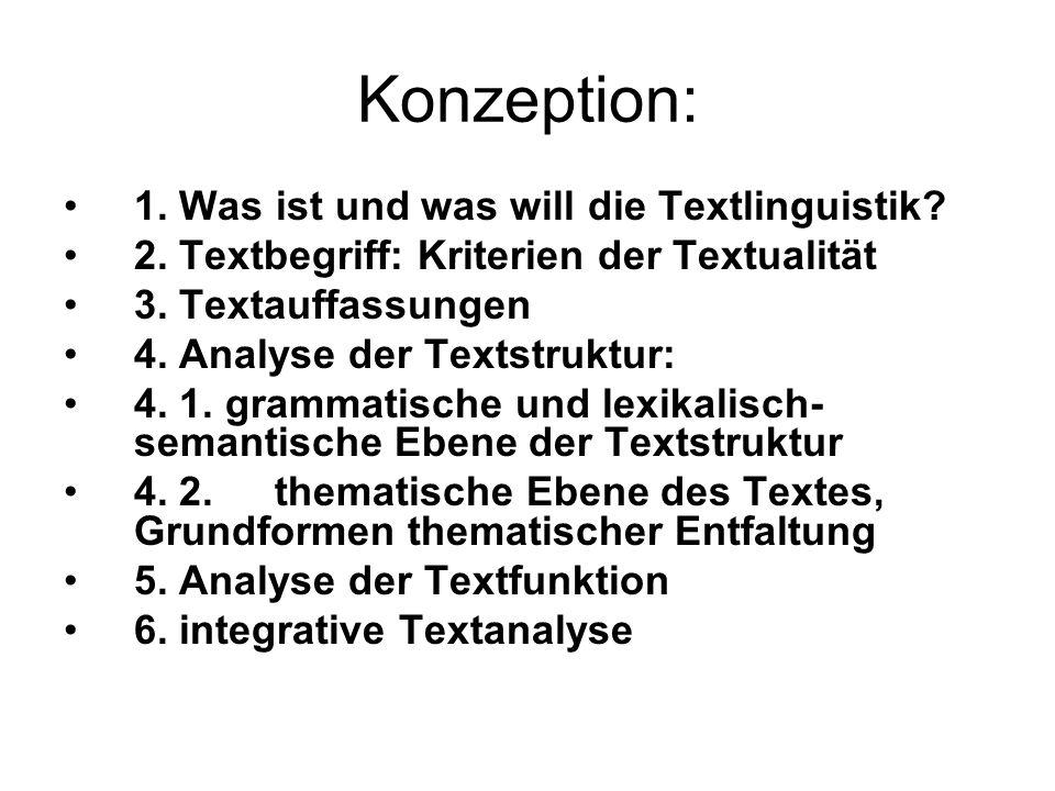 Konzeption: 1. Was ist und was will die Textlinguistik