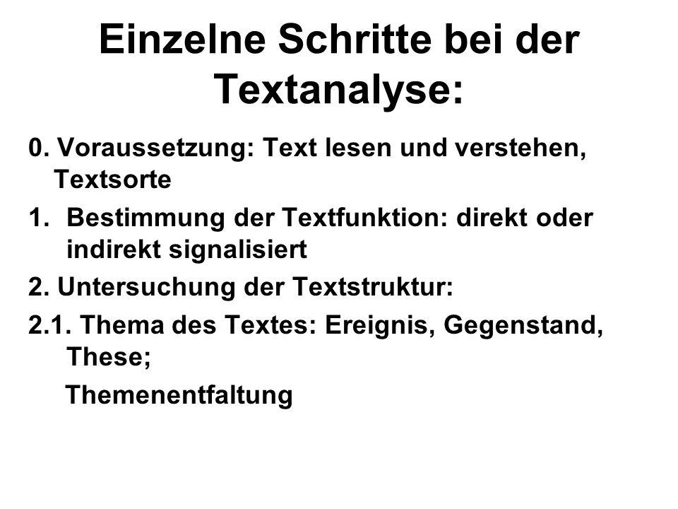 Einzelne Schritte bei der Textanalyse: