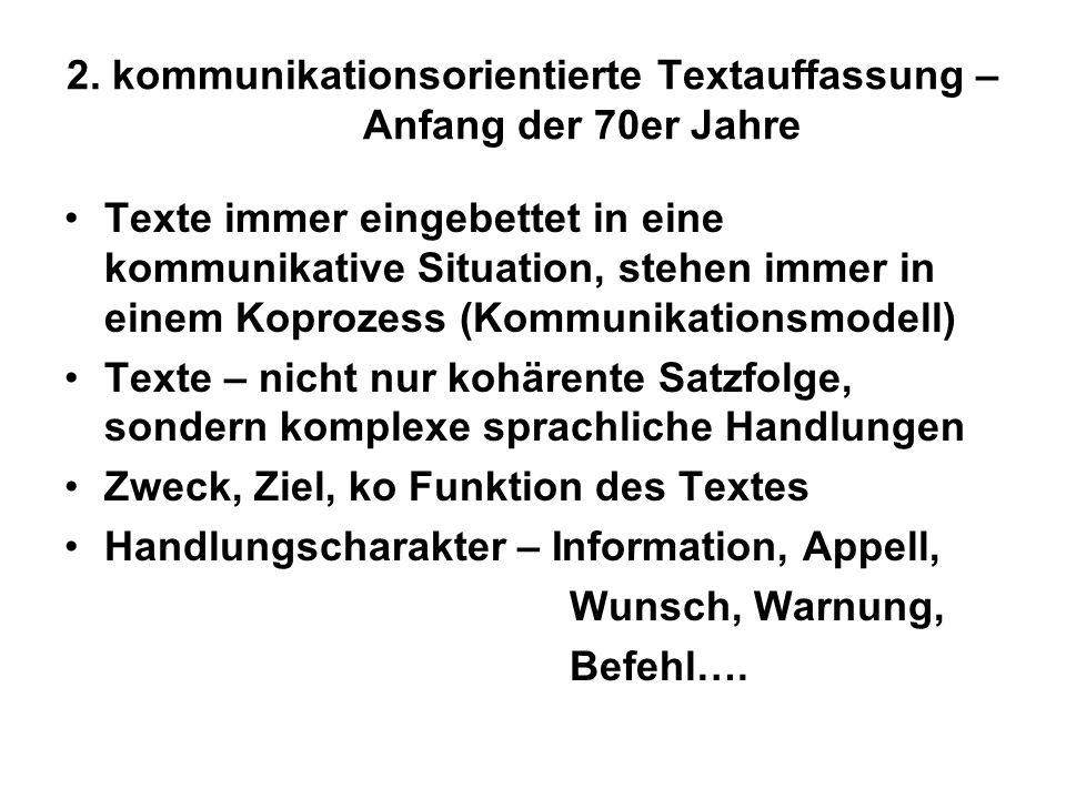 2. kommunikationsorientierte Textauffassung – Anfang der 70er Jahre