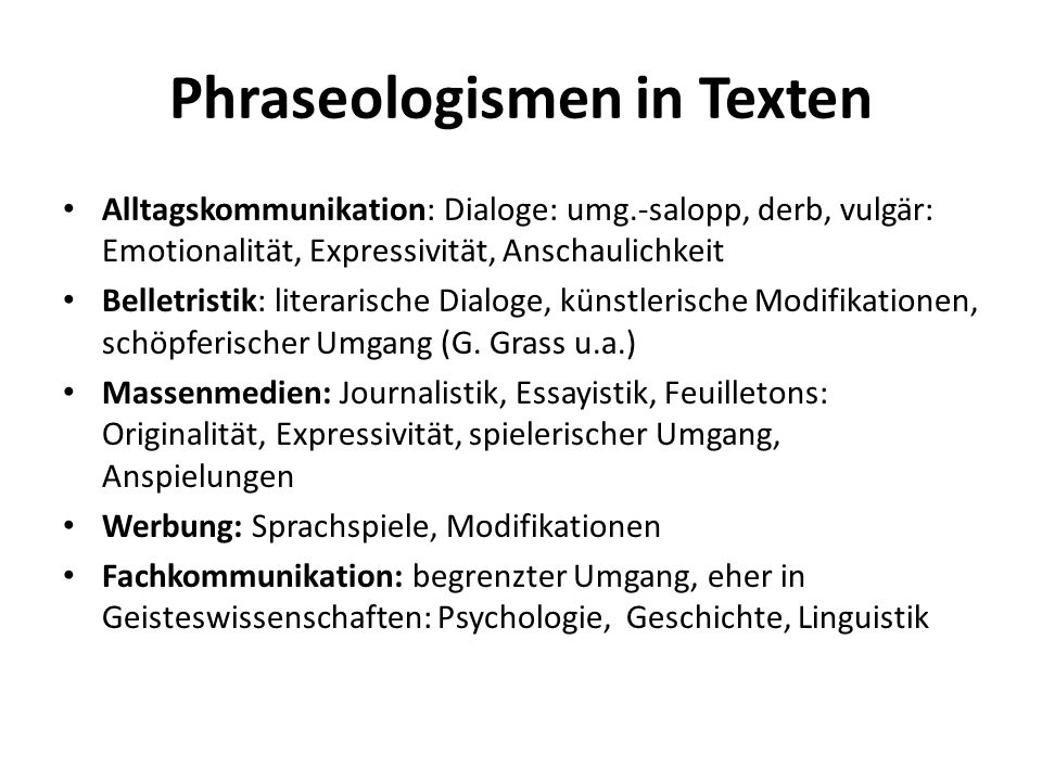 Phraseologismen in Texten