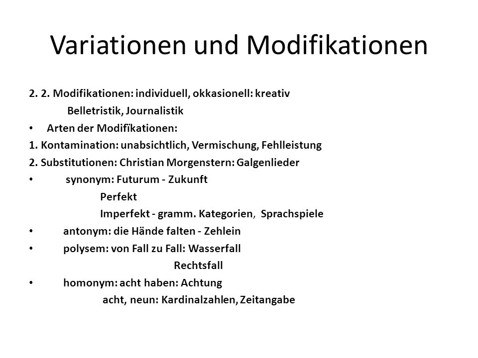 Variationen und Modifikationen
