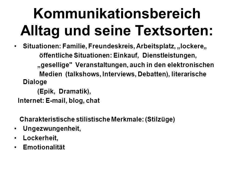 Kommunikationsbereich Alltag und seine Textsorten: