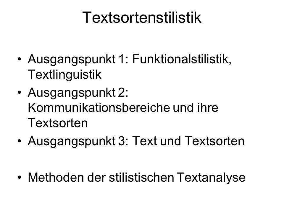 Textsortenstilistik Ausgangspunkt 1: Funktionalstilistik, Textlinguistik. Ausgangspunkt 2: Kommunikationsbereiche und ihre Textsorten.