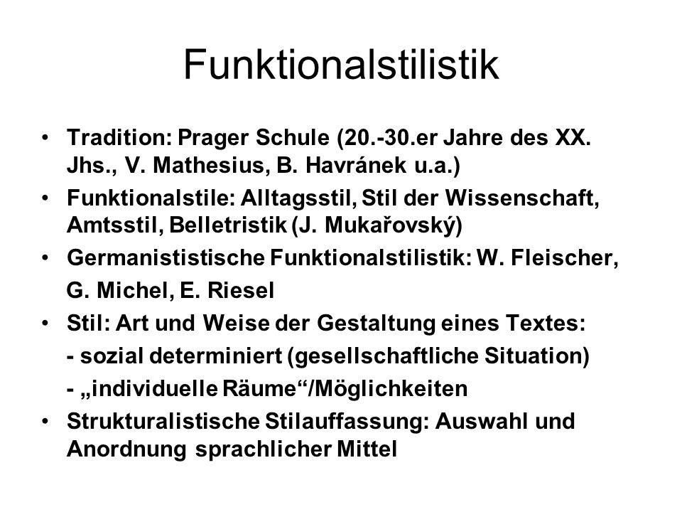 Funktionalstilistik Tradition: Prager Schule (20.-30.er Jahre des XX. Jhs., V. Mathesius, B. Havránek u.a.)