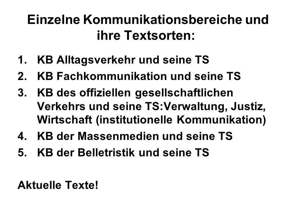 Einzelne Kommunikationsbereiche und ihre Textsorten: