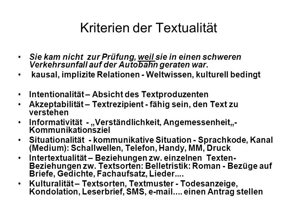 Kriterien der Textualität