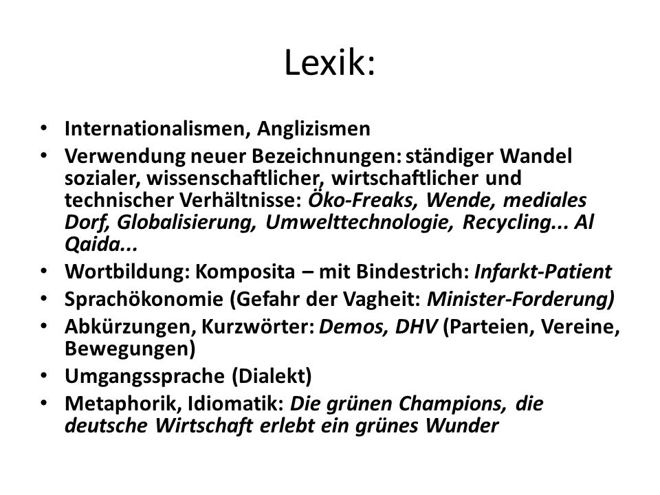 Lexik: Internationalismen, Anglizismen