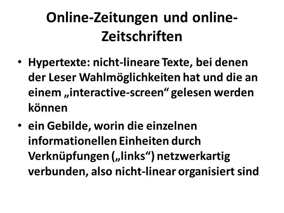 Online-Zeitungen und online-Zeitschriften