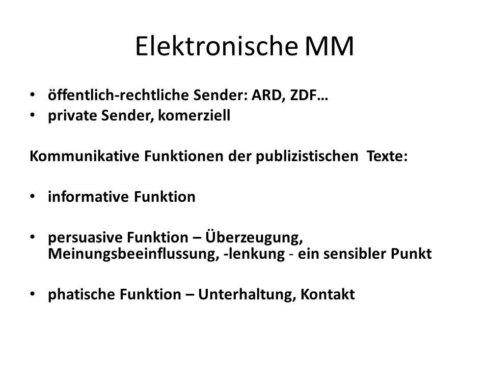 Elektronische MM öffentlich-rechtliche Sender: ARD, ZDF…