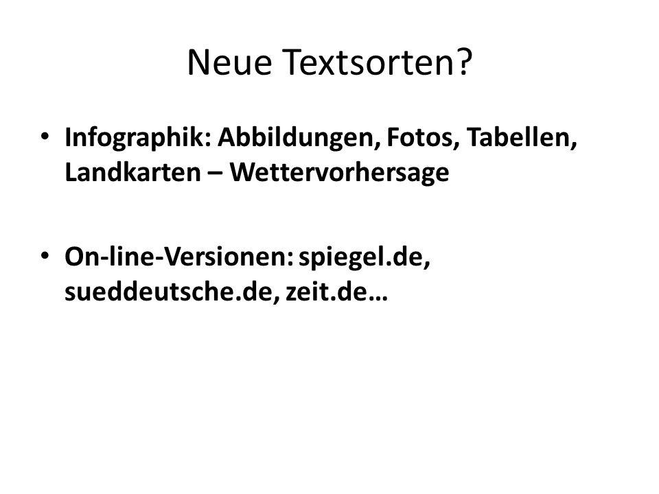 Neue Textsorten Infographik: Abbildungen, Fotos, Tabellen, Landkarten – Wettervorhersage.