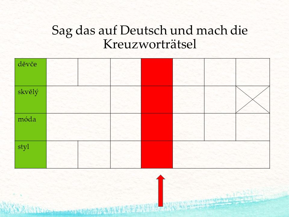 Sag das auf Deutsch und mach die Kreuzworträtsel