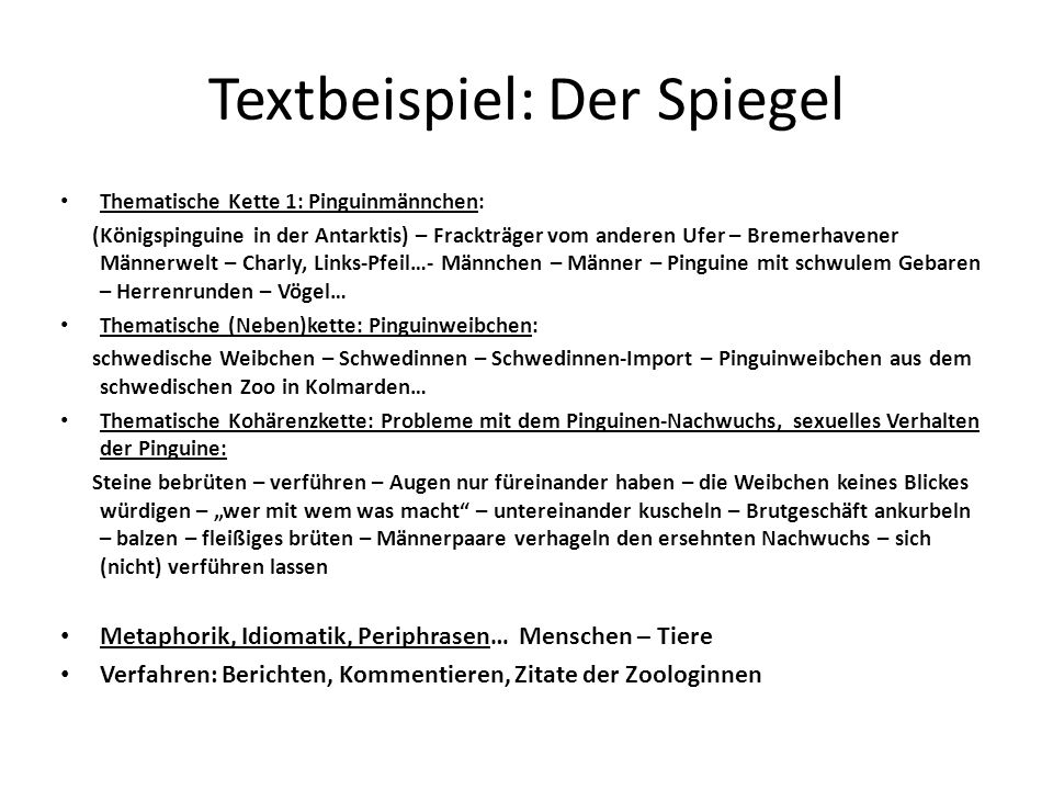 Textbeispiel: Der Spiegel