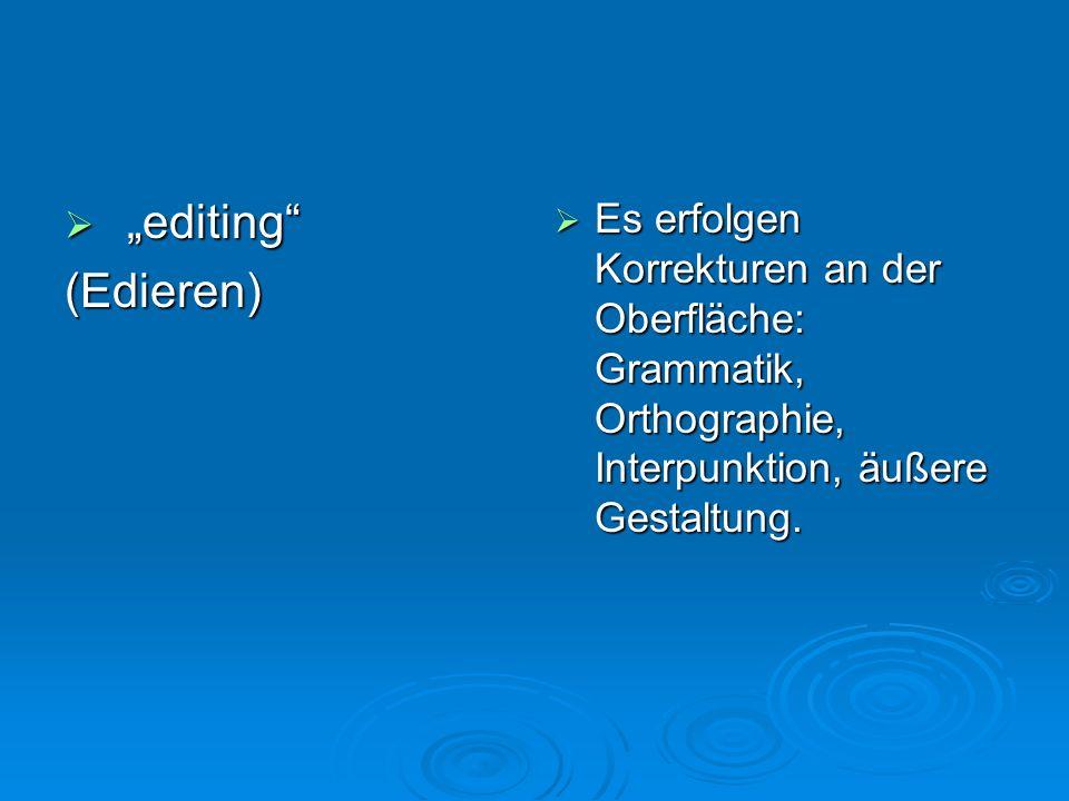 """""""editing (Edieren) Es erfolgen Korrekturen an der Oberfläche: Grammatik, Orthographie, Interpunktion, äußere Gestaltung."""