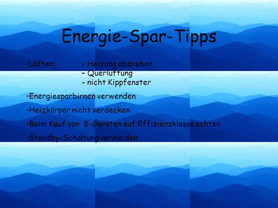Energie-Spar-Tipps Lüften: - Heizung abdrehen – Querlüftung - nicht Kippfenster. Energiesparbirnen verwenden.