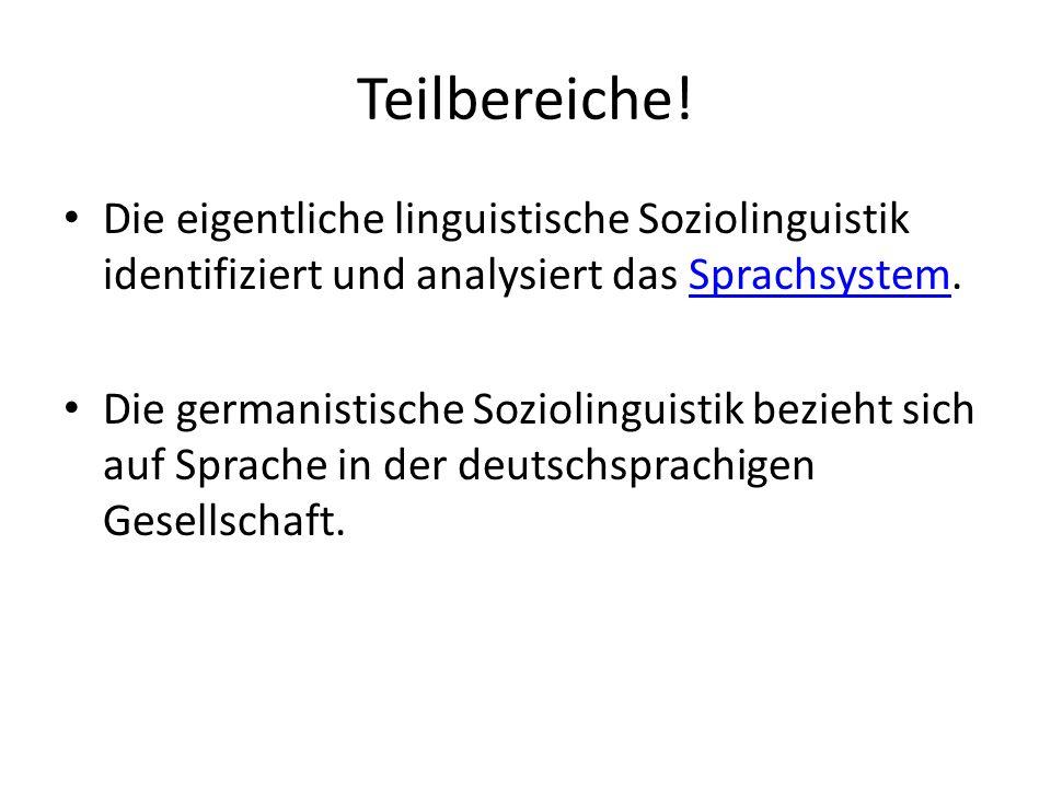 Teilbereiche! Die eigentliche linguistische Soziolinguistik identifiziert und analysiert das Sprachsystem.