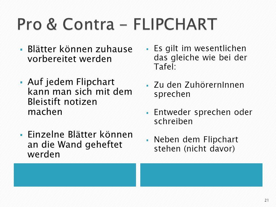 Pro & Contra - FLIPCHART